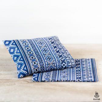 Mosható parajdi sós fülpárna védőhuzat kék szőttes retro mintával